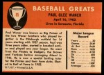 1961 Fleer #85  Paul Waner  Back Thumbnail