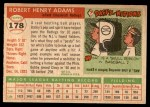 1955 Topps #178  Bobby Adams  Back Thumbnail