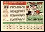1955 Topps #101  Johnny Gray  Back Thumbnail