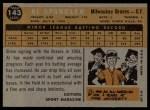 1960 Topps #143   -  Al Spangler Rookie Star Back Thumbnail