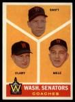 1960 Topps #470   -  Bob Swift / Ellis Clary / Sam Mele Senators Coaches Front Thumbnail