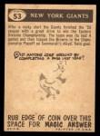 1959 Topps #53   Giants Pennant Back Thumbnail