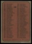 1975 Topps Mini #126   Checklist Back Thumbnail