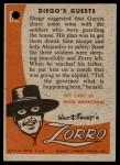 1958 Topps Zorro #82   Diegos Guests Back Thumbnail