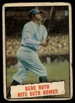 1961 Topps #401   -  Babe Ruth Hits 60th Homer Front Thumbnail