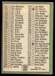 1967 Topps #191 TOM  -  Willie Mays Checklist 3 Back Thumbnail