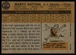 1960 Topps #516  Marty Kutyna  Back Thumbnail