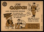 1960 Topps #216  Joe Gordon  Back Thumbnail