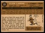 1960 Topps #29  Clem Labine  Back Thumbnail