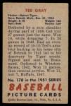 1951 Bowman #178  Ted Gray  Back Thumbnail