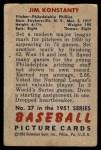 1951 Bowman #27  Jim Konstanty  Back Thumbnail