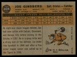 1960 Topps #304  Joe Ginsberg  Back Thumbnail