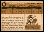 1960 Topps #98  Gordon Jones  Back Thumbnail