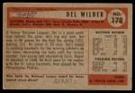 1954 Bowman #178  Del Wilber  Back Thumbnail