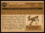 1960 Topps #416  Humberto Robinson  Back Thumbnail