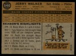 1960 Topps #540  Jerry Walker  Back Thumbnail