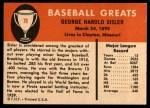 1961 Fleer #78  George Sisler  Back Thumbnail