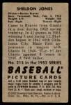 1952 Bowman #215  Sheldon Jones  Back Thumbnail