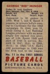 1951 Bowman #11  Red Munger  Back Thumbnail