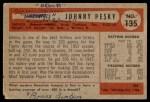 1954 Bowman #135  Johnny Pesky  Back Thumbnail