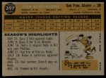 1960 Topps #397  Don Blasingame  Back Thumbnail