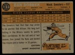 1960 Topps #123   -  Dan Dobbek Rookie Star Back Thumbnail