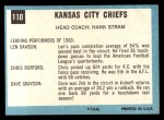 1964 Topps #110   Kansas City Chiefs Back Thumbnail