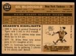 1960 Topps #247  Gil McDougald  Back Thumbnail