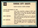 1964 Topps #110   Kansas City Chiefs Team Back Thumbnail