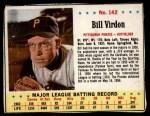 1963 Jello #142  Bill Virdon  Front Thumbnail