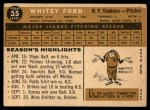 1960 Topps #35  Whitey Ford  Back Thumbnail