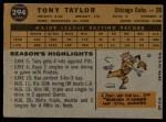 1960 Topps #294  Tony Taylor  Back Thumbnail
