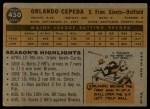 1960 Topps #450  Orlando Cepeda  Back Thumbnail