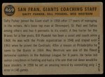 1960 Topps #469   -  Wes Westrum / Salty Parker / Bill Posedel Giants Coaches Back Thumbnail