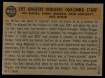 1960 Topps #463   -  Bobby Bragan / Pete Reiser / Joe Becker / Greg Mulleavy Dodgers Coaches Back Thumbnail