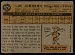 1960 Topps #476  Lou Johnson  Back Thumbnail