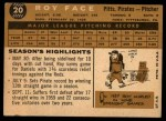 1960 Topps #20  Roy Face  Back Thumbnail