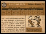 1960 Topps #106  Billy Gardner  Back Thumbnail