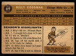 1960 Topps #69  Billy Goodman  Back Thumbnail