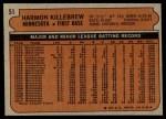 1972 Topps #51  Harmon Killebrew  Back Thumbnail