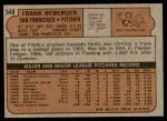 1972 Topps #548  Frank Reberger  Back Thumbnail