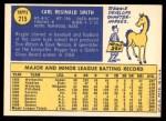 1970 Topps #215  Reggie Smith  Back Thumbnail