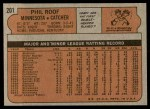 1972 Topps #201  Phil Roof  Back Thumbnail