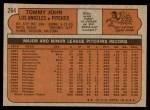 1972 Topps #264  Tommy John  Back Thumbnail