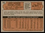 1972 Topps #155  Larry Dierker  Back Thumbnail