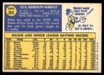 1970 Topps #265  Randy Hundley  Back Thumbnail