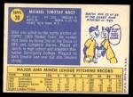 1970 O-Pee-Chee #39  Mike Nagy  Back Thumbnail