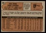 1972 Topps #598  Hal King  Back Thumbnail