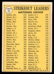 1970 Topps #71   -  Bob Gibson / Fergie Jenkins / Bill Singer NL Strikeout Leaders Back Thumbnail
