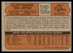 1972 Topps #277  Elliott Maddox  Back Thumbnail